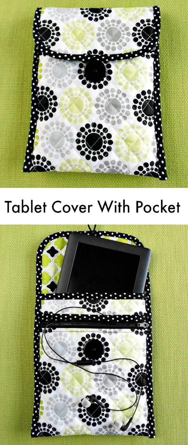 Sewing Crafts To Make and Sell - Easy DIY Ideas for Cheap Things To Sell on Etsy, Online and for Craft Fairs. Make Money with These Homemade Crafts for Teens, Kids, Christmas, Summer, Mother's Day Gifts.   Tablet Cover With Zippered Pocket