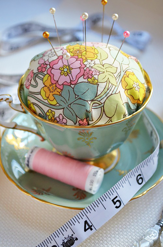 DIY Craft Room Ideas and Craft Room Organization Projects - Tea Cup Pin Cushion - Cool Ideas for Do It Yourself Craft Storage - fabric, paper, pens, creative tools, crafts supplies and sewing notions