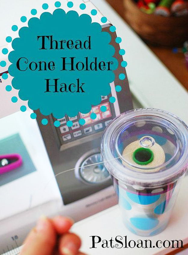 Sewing Hacks | Best Tips and Tricks for Sewing Patterns, Projects, Machines, Hand Sewn Items. Clever Ideas for Beginners and Even Experts | Thread Cone Holder Hack