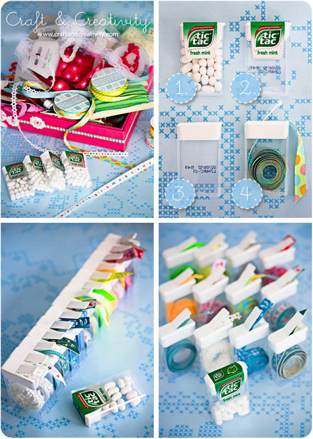 DIY Craft Room Ideas and Craft Room Organization Projects - Tic Tac Ribbon Organizer - Cool Ideas for Do It Yourself Craft Storage - fabric, paper, pens, creative tools, crafts supplies and sewing notions