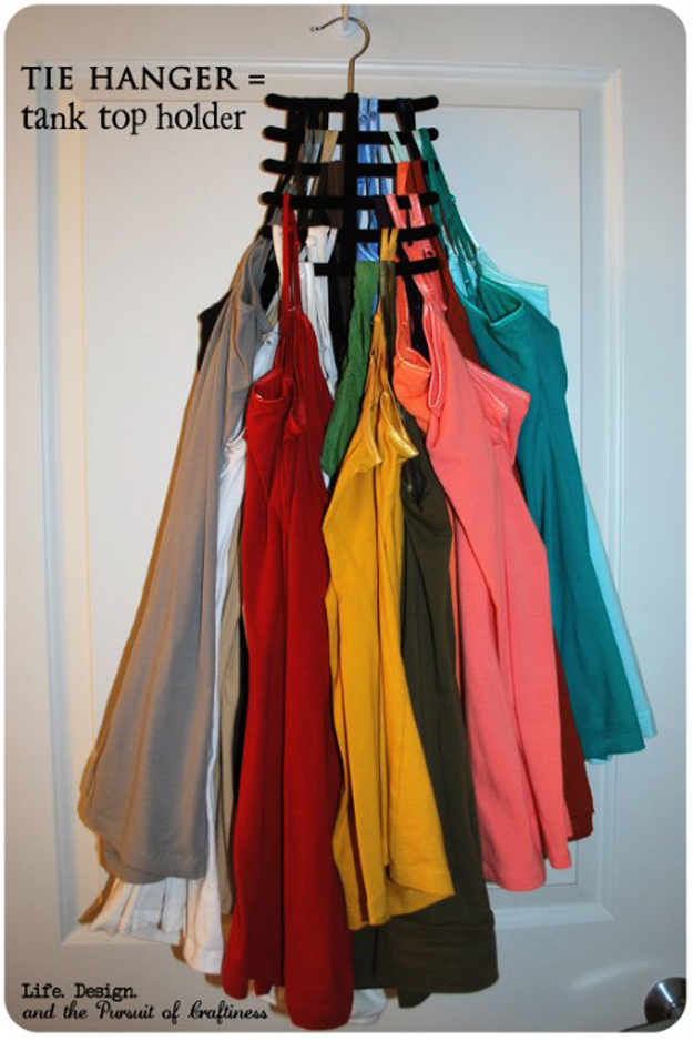DIY Closet Organization Ideas for Messy Closets and Small Spaces. Organizing Hacks and Homemade Shelving And Storage Tips for Garage, Pantry, Bedroom., Clothes and Kitchen | Tie Hanger Tank Top Holder #organizing #closets #organizingideas