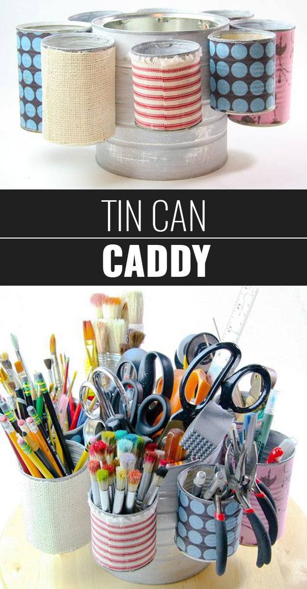DIY Craft Room Ideas and Craft Room Organization Projects - Tin Can Caddy - Cool Ideas for Do It Yourself Craft Storage - fabric, paper, pens, creative tools, crafts supplies and sewing notions