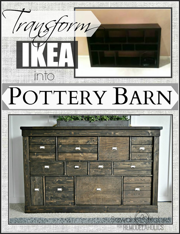 DIY Furniture Store KnockOffs - Do It Yourself Furniture Projects Inspired by Pottery Barn, Restoration Hardware, West Elm. Tutorials and Step by Step Instructions | Transform IKEA into Pottery Barn #diyfurniture #diyhomedecor #copycats