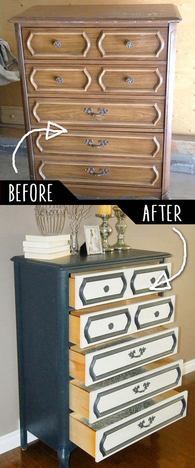 DIY Furniture Makeovers - Refurbished Furniture and Cool Painted Furniture Ideas for Thrift Store Furniture Makeover Projects | Coffee Tables, Dressers and Bedroom Decor, Kitchen | Unmatching Dresser Re-do #diy #furnituremakeover #diyfurniture