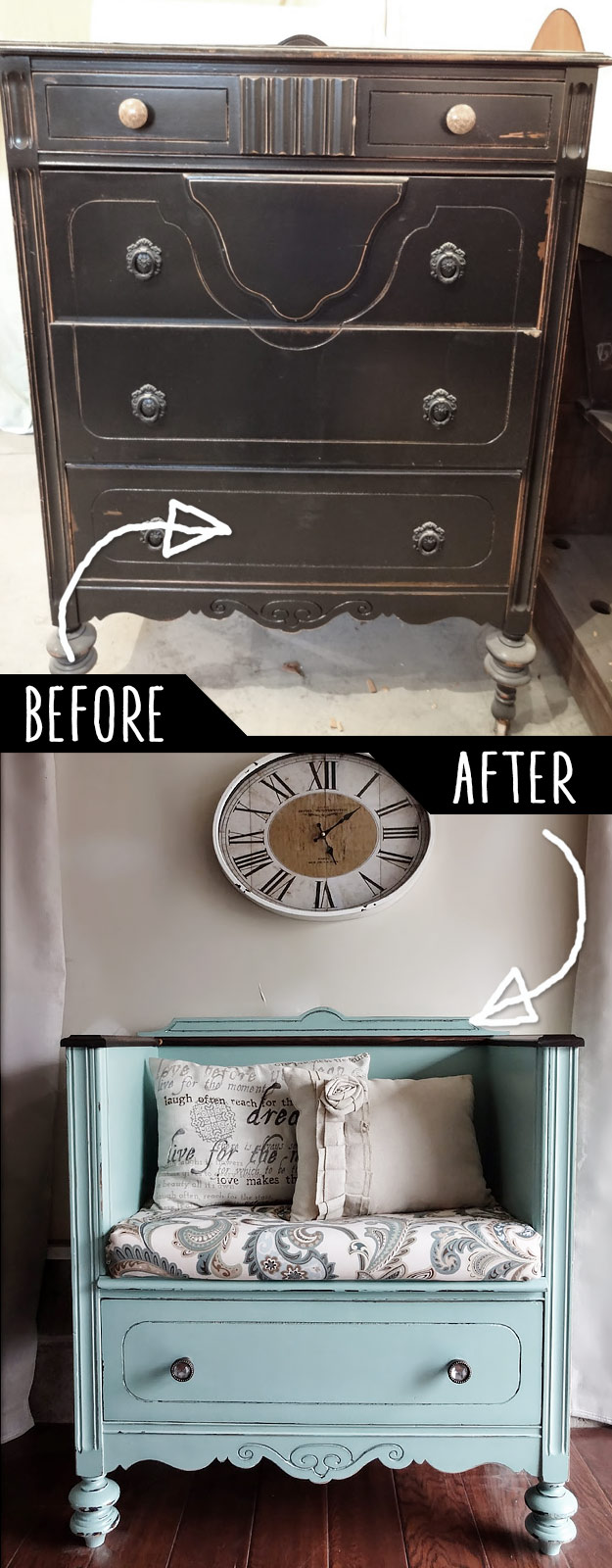 DIY Furniture Hacks   Unused Old Dresser Turned Bench   Cool Ideas for Creative Do It Yourself Furniture   Cheap Home Decor Ideas for Bedroom, Bathroom, Living Room, Kitchen #diy