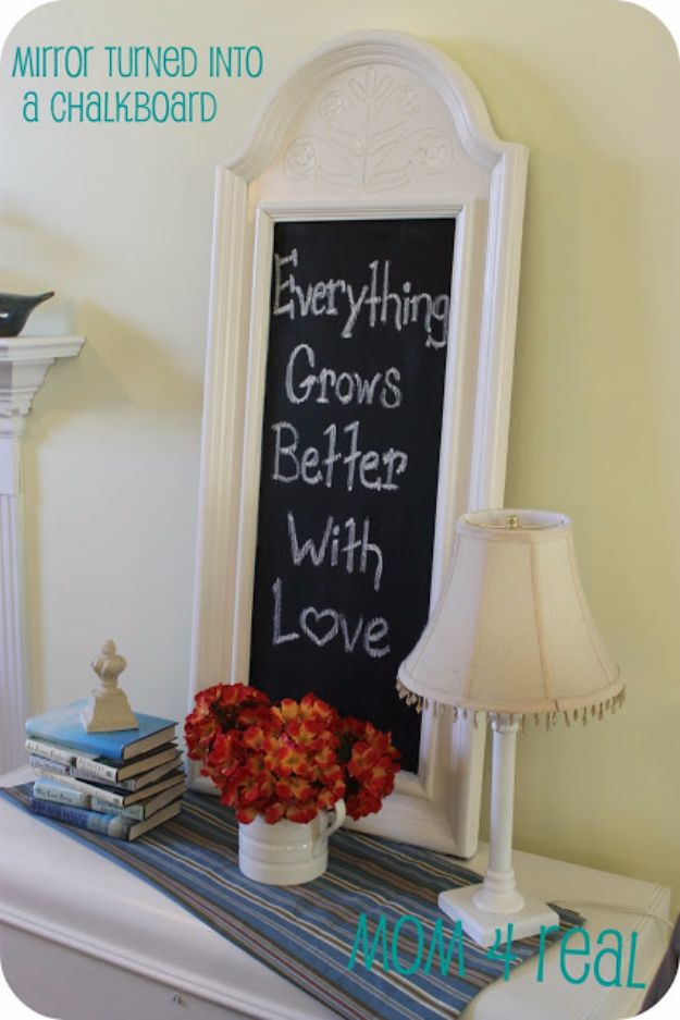 DIY Chalkboard Paint Ideas for Furniture Projects, Home Decor, Kitchen, Bedroom, Signs and Crafts for Teens. | Upcycled Mirror Frame into a Chalkboard Art | http://diyjoy.com/diy-chalkboard-paint-ideas
