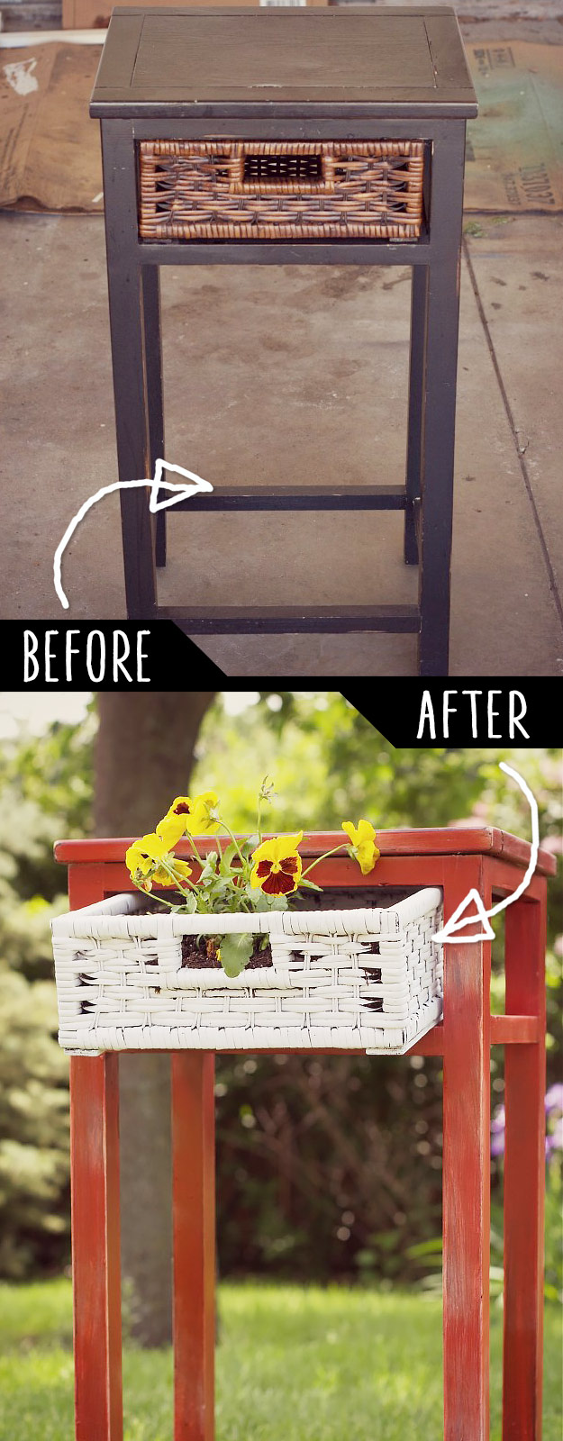 DIY Furniture Hacks   Upcycled Side Table into Planter   Cool Ideas for Creative Do It Yourself Furniture Made From Things You Might Not Expect #diy