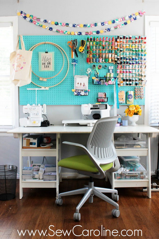 Sewing Hacks | Best Tips and Tricks for Sewing Patterns, Projects, Machines, Hand Sewn Items. Clever Ideas for Beginners and Even Experts | Use A Pegboard To Organize A Sewing Room