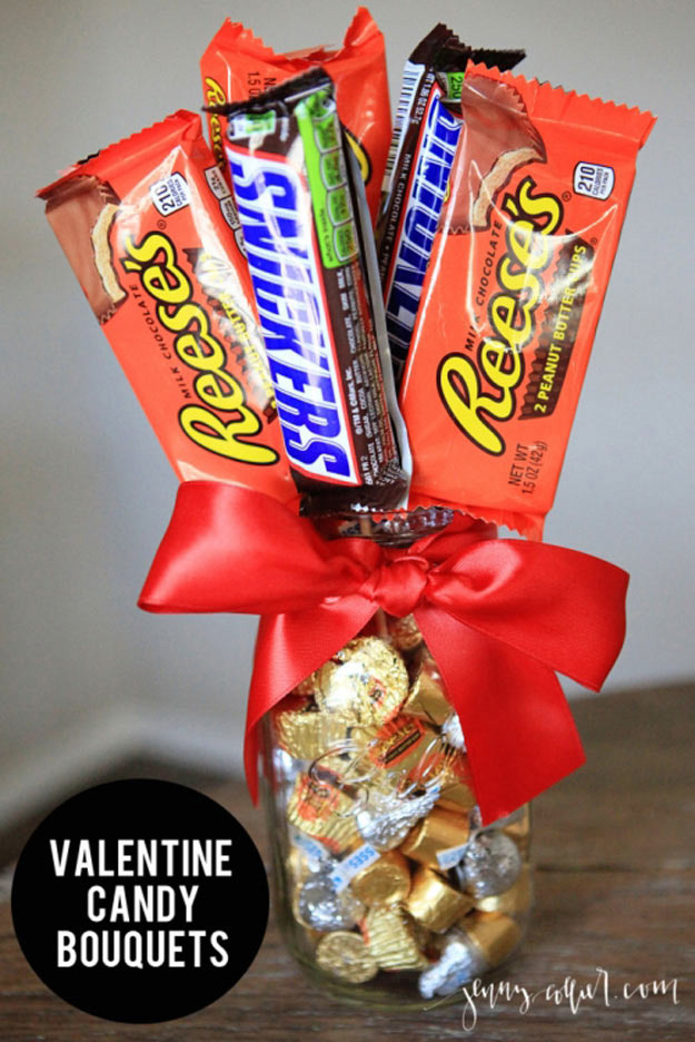 Mason Jar Valentine Gifts and Crafts   DIY Ideas for Valentines Day for Cute Gift Giving and Decor   Valentine Candy Bouquets   #valentines