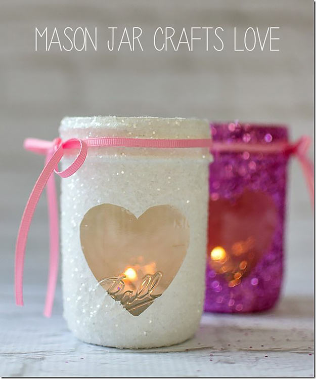 Mason Jar Valentine Gifts and Crafts | DIY Ideas for Valentines Day for Cute Gift Giving and Decor | Valentine Glitter Votives | #valentines