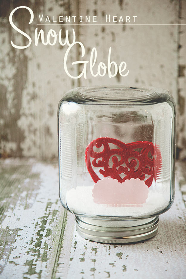 Mason Jar Valentine Gifts and Crafts   DIY Ideas for Valentines Day for Cute Gift Giving and Decor   Valentine Heart Snow Globe   #valentines