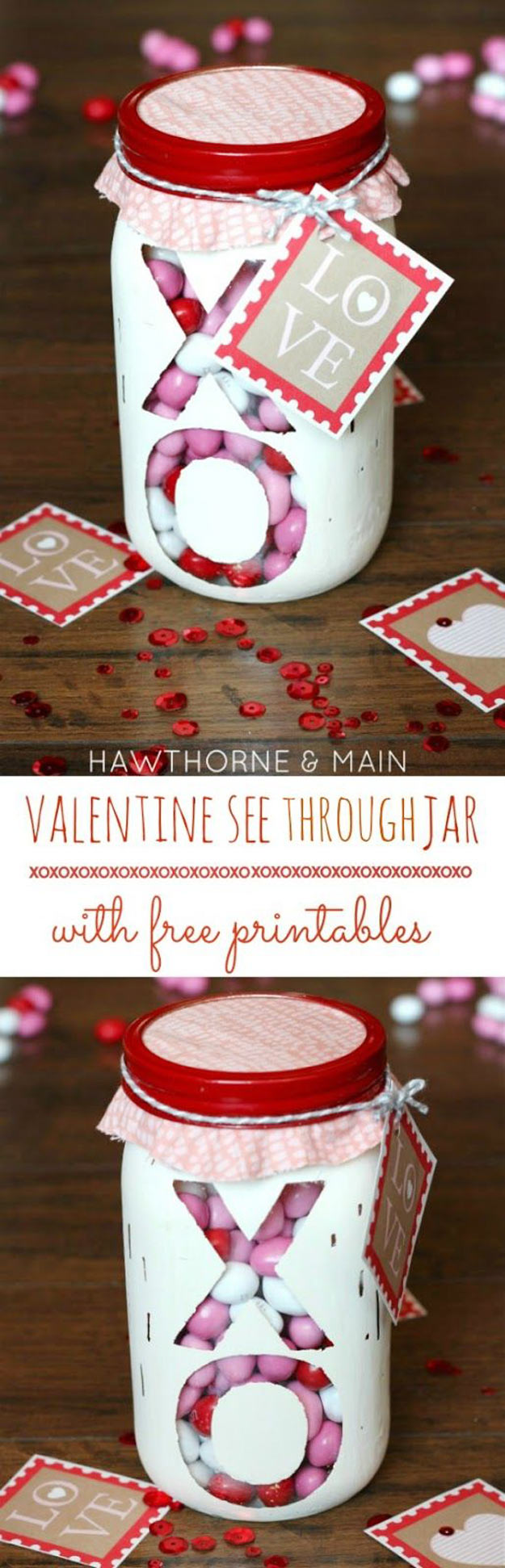 Mason Jar Valentine Gifts and Crafts | DIY Ideas for Valentines Day for Cute Gift Giving and Decor | Valentine-See-Through-Jar | #valentines