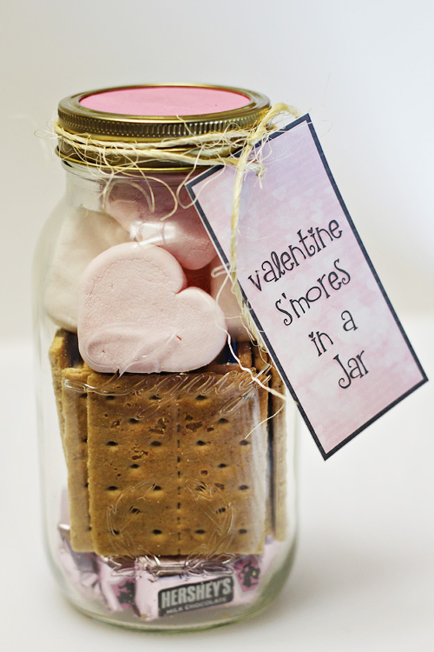 Mason Jar Valentine Gifts and Crafts   DIY Ideas for Valentines Day for Cute Gift Giving and Decor   Valentine Smore's Kit in a Jar   #valentines