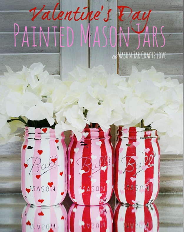 Mason Jar Valentine Gifts and Crafts   DIY Ideas for Valentines Day for Cute Gift Giving and Decor   Distressed Painted Valentine Heart Jars   #valentines