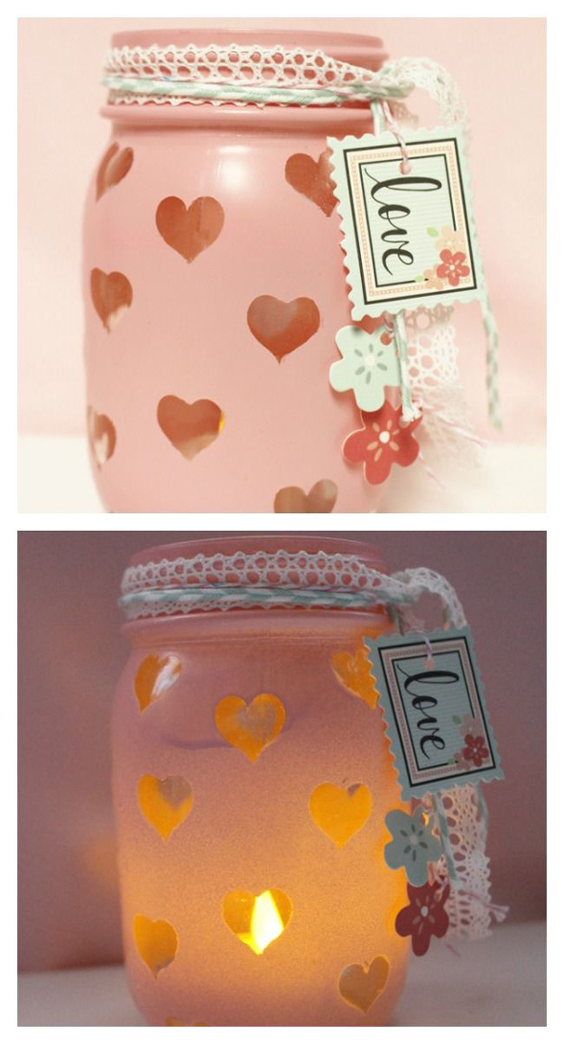 Mason Jar Valentine Gifts and Crafts   DIY Ideas for Valentines Day for Cute Gift Giving and Decor   Valentine's Day Votive   #valentines