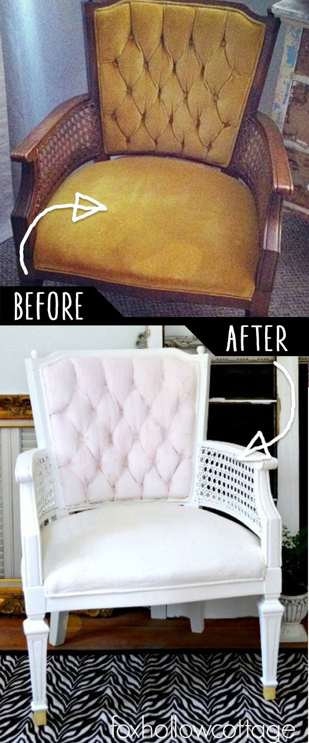 DIY Furniture Makeovers - Refurbished Furniture and Cool Painted Furniture Ideas for Thrift Store Furniture Makeover Projects | Coffee Tables, Dressers and Bedroom Decor, Kitchen | Velvet Upholstery Painted Chair Makeover #diy #furnituremakeover #diyfurniture