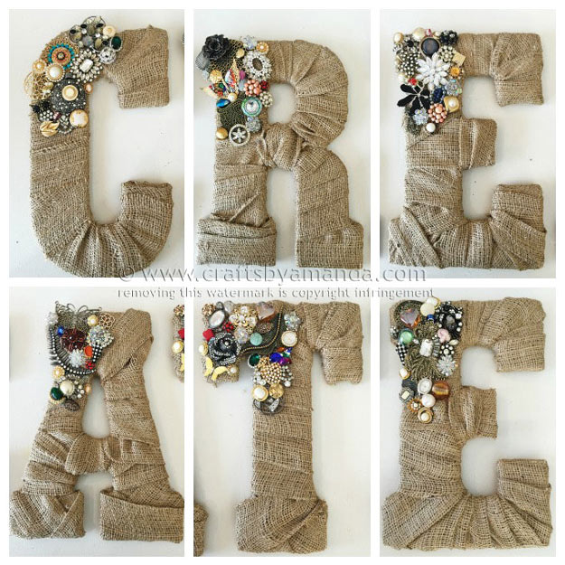 76 Crafts To Make and Sell - Easy DIY Ideas for Cheap Things To Sell on Etsy, Online and for Craft Fairs. Make Money with These Homemade Crafts for Teens, Kids, Christmas, Summer, Mother's Day Gifts.   Vintage Jewel Burlap Wall Letters #crafts #diy