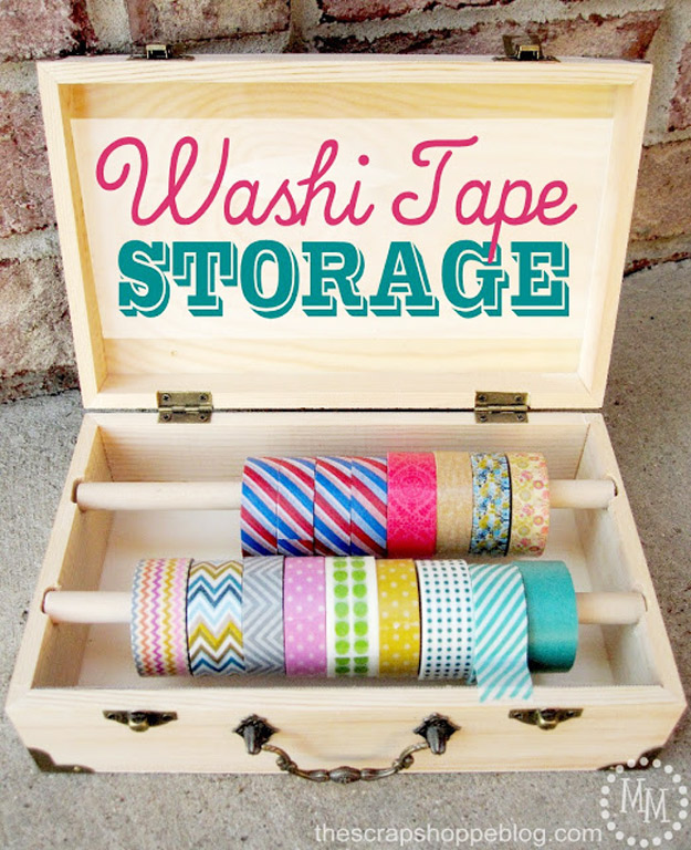 DIY Craft Room Ideas and Craft Room Organization Projects - Washi Tape Storage - Cool Ideas for Do It Yourself Craft Storage - fabric, paper, pens, creative tools, crafts supplies and sewing notions