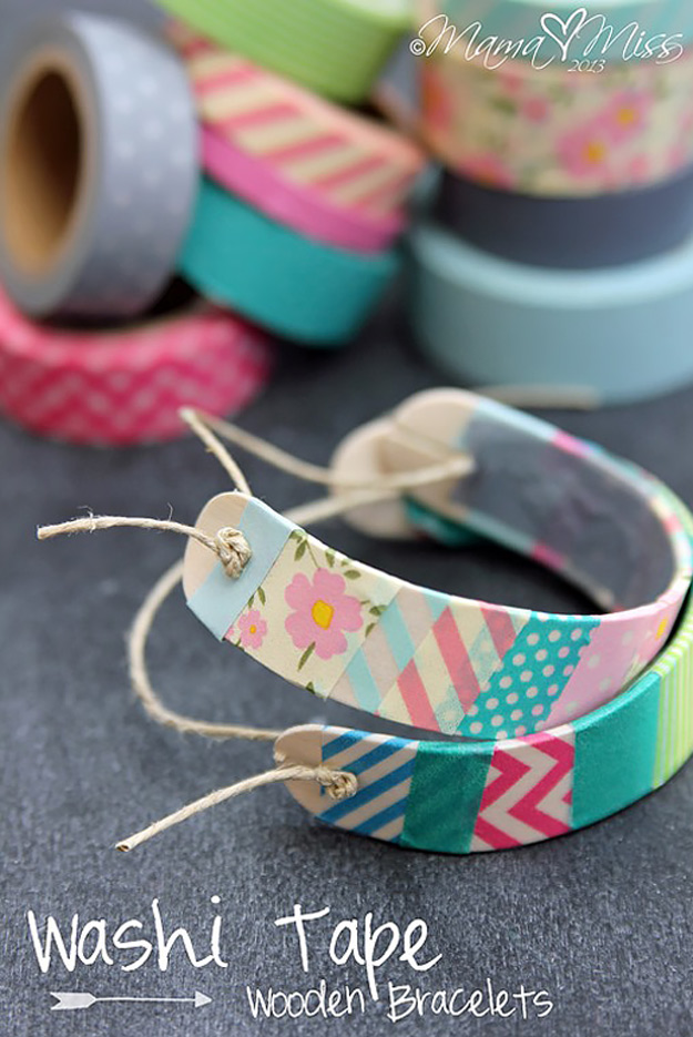 76 Crafts To Make and Sell - Easy DIY Ideas for Cheap Things To Sell on Etsy, Online and for Craft Fairs. Make Money with These Homemade Crafts for Teens, Kids, Christmas, Summer, Mother's Day Gifts. | Washi Tape Wooden Bracelets #crafts #diy