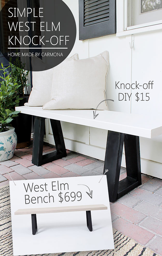 DIY Furniture Store KnockOffs - Do It Yourself Furniture Projects Inspired by Pottery Barn, Restoration Hardware, West Elm. Tutorials and Step by Step Instructions   West Elm Bench Knock Off #diyfurniture #diyhomedecor #copycats