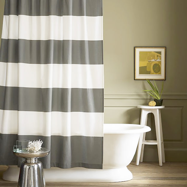 DIY Furniture Store KnockOffs - Do It Yourself Furniture Projects Inspired by Pottery Barn, Restoration Hardware, West Elm. Tutorials and Step by Step Instructions   West Elm Inspired Shower Curtain #diyfurniture #diyhomedecor #copycats