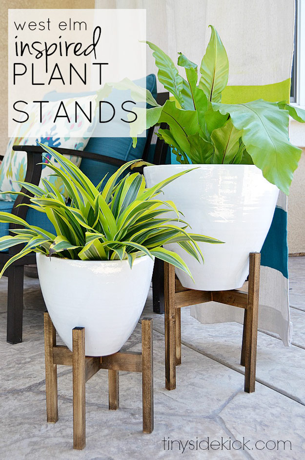 DIY Furniture Store KnockOffs - Do It Yourself Furniture Projects Inspired by Pottery Barn, Restoration Hardware, West Elm. Tutorials and Step by Step Instructions | West Elm Inspired Wooden Plant Stands #diyfurniture #diyhomedecor #copycats