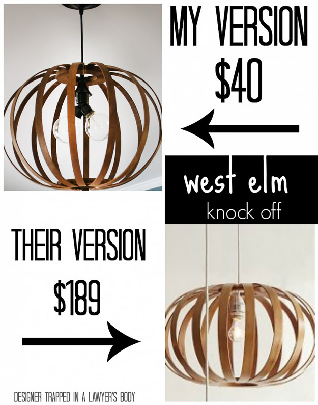 DIY Furniture Store KnockOffs - Do It Yourself Furniture Projects Inspired by Pottery Barn, Restoration Hardware, West Elm. Tutorials and Step by Step Instructions | West Elm Knock Off DIY Bentwood Pendant #diyfurniture #diyhomedecor #copycats