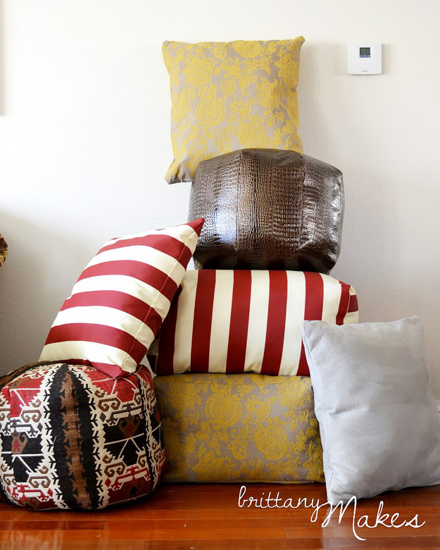 DIY Furniture Store KnockOffs - Do It Yourself Furniture Projects Inspired by Pottery Barn, Restoration Hardware, West Elm. Tutorials and Step by Step Instructions | West Elm Pouf Hack | http://diyjoy.com/diy-furniture-store-knockoffs