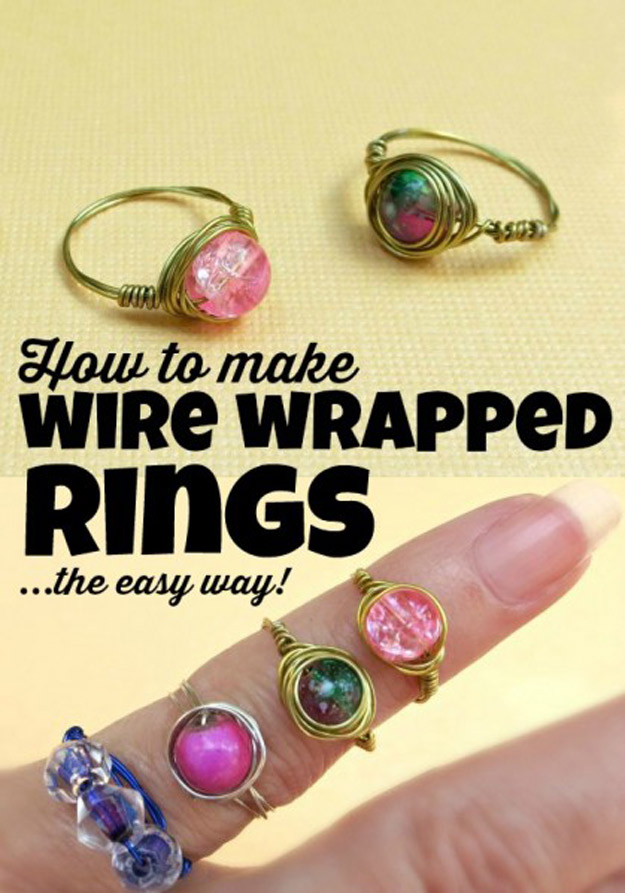 76 Crafts To Make and Sell - Easy DIY Ideas for Cheap Things To Sell on Etsy, Online and for Craft Fairs. Make Money with These Homemade Crafts for Teens, Kids, Christmas, Summer, Mother's Day Gifts.   Wire Wrapped Bead Rings #crafts #diy