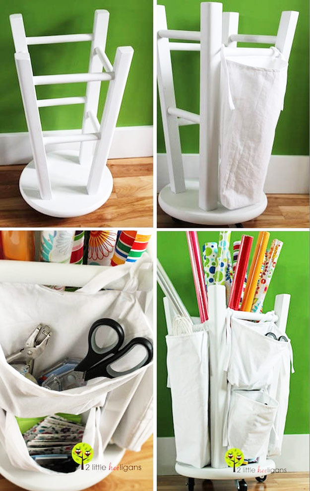 50 clever craft room organization ideas diy furniture hacks wooden stool into a tool and crafts organizer cool ideas for solutioingenieria Image collections