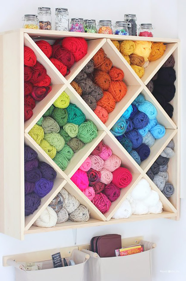 DIY Craft Room Ideas and Craft Room Organization Projects - Yarn Storage System - Cool Ideas for Do It Yourself Craft Storage - fabric, paper, pens, creative tools, crafts supplies and sewing notions