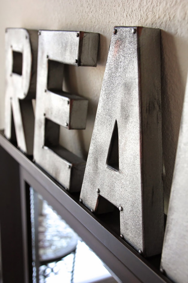 DIY Furniture Store KnockOffs - Do It Yourself Furniture Projects Inspired by Pottery Barn, Restoration Hardware, West Elm. Tutorials and Step by Step Instructions   Zinc Letters Anthropologie Inspired  -DIY Furniture Ideas - Designer Copycats for DIY Home Decor Ideas