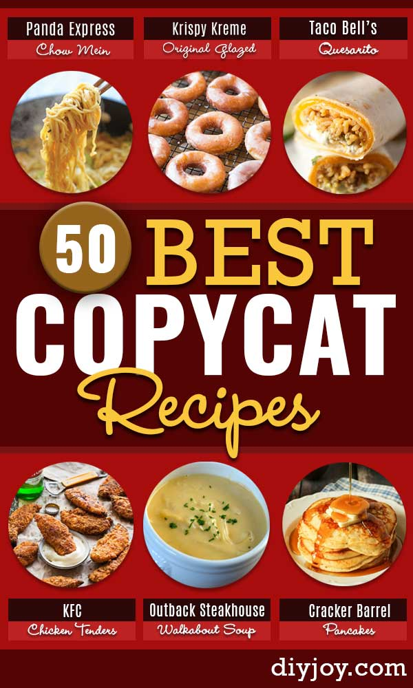 Copycat Recipes From Top Restaurants. Best Restaurant Recipe Knockoffs from Chipotle, Starbucks, Olive Garden, Cinabbon, Cracker Barrel, Taco Bell, Cheesecake Factory, KFC, Mc Donalds, Red Lobster, Panda Express #recipes #copycatrecipes #easyrecipes