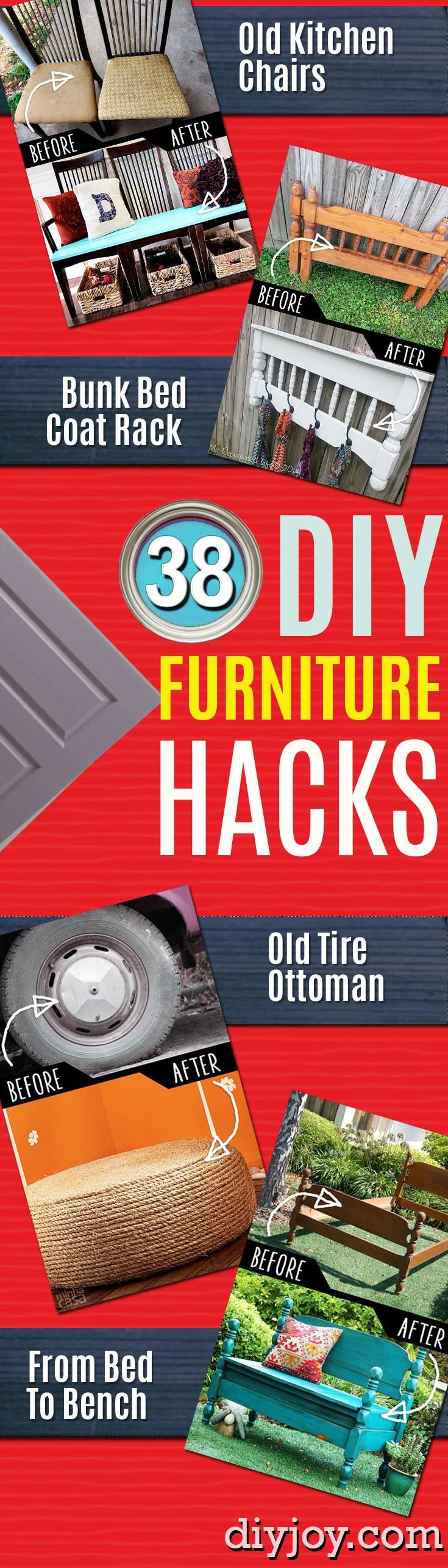 DIY Furniture Ideas - Hacks and Cool Ideas for Repurposing Stuff for Home Decor. IKEA hacks and ideas for creative decorating. - Easy Hacks for Transforming Old Furniture on The Cheap - Quick Ideas for Creative Home Decor