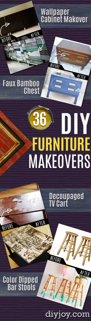 DIY Furniture Makeovers - Refurbished Furniture and Cool Painted Furniture Ideas for Thrift Store Furniture Makeover Projects | Coffee Tables, Dressers and Bedroom Decor, Kitchen |   http://diyjoy.com/diy-furniture-makeovers