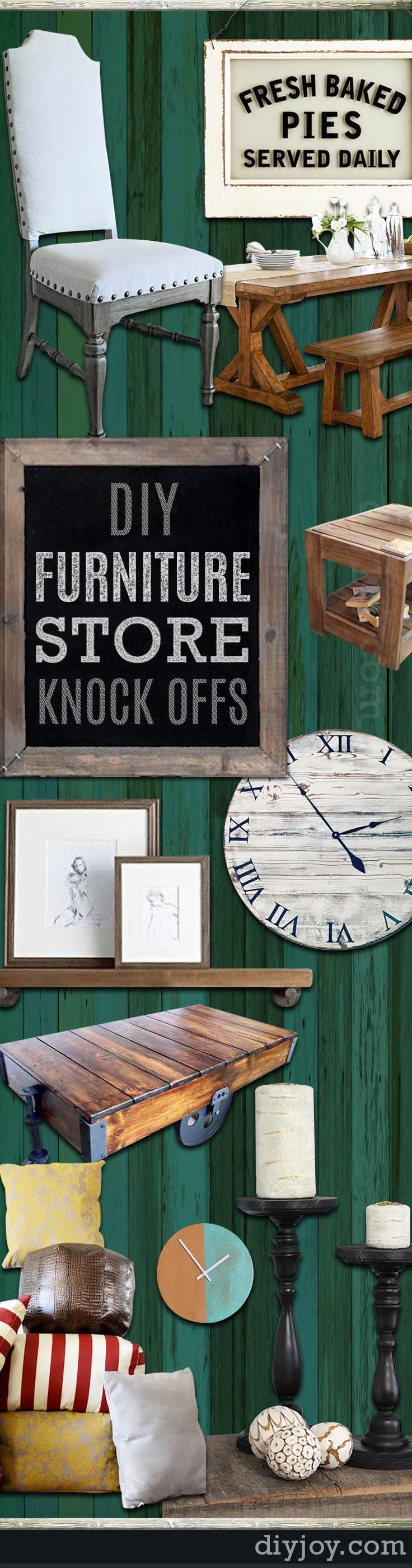 DIY Furniture Store KnockOffs - DYI Designer Furniture Copycats and Dupes - Do It Yourself Furniture Projects Inspired by Pottery Barn, Restoration Hardware, West Elm. Tutorials and Step by Step Instructions