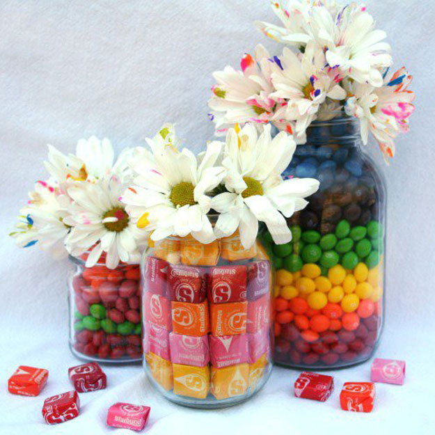 Mason Jar Valentine Gifts and Crafts | DIY Ideas for Valentines Day for Cute Gift Giving and Decor | Flowers in a Candy Filled Jar | http://diyjoy.com/mason-jar-valentine-crafts