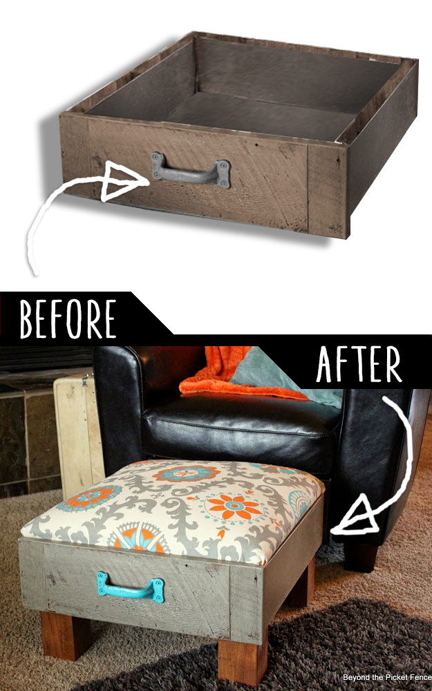 39 clever diy furniture hacks diy furniture hacks foot rest from old drawers cool ideas for creative do it solutioingenieria