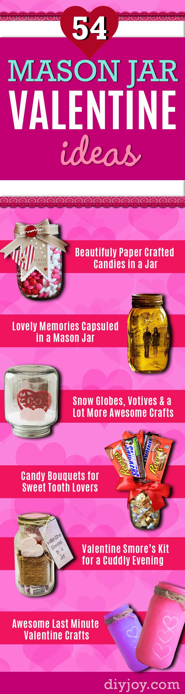 Mason Jar Valentine Gifts - Easy Mason Jar Valentines - Cute Valentines Day Gifts - Easy Mason Jars Crafts for Valentines Day