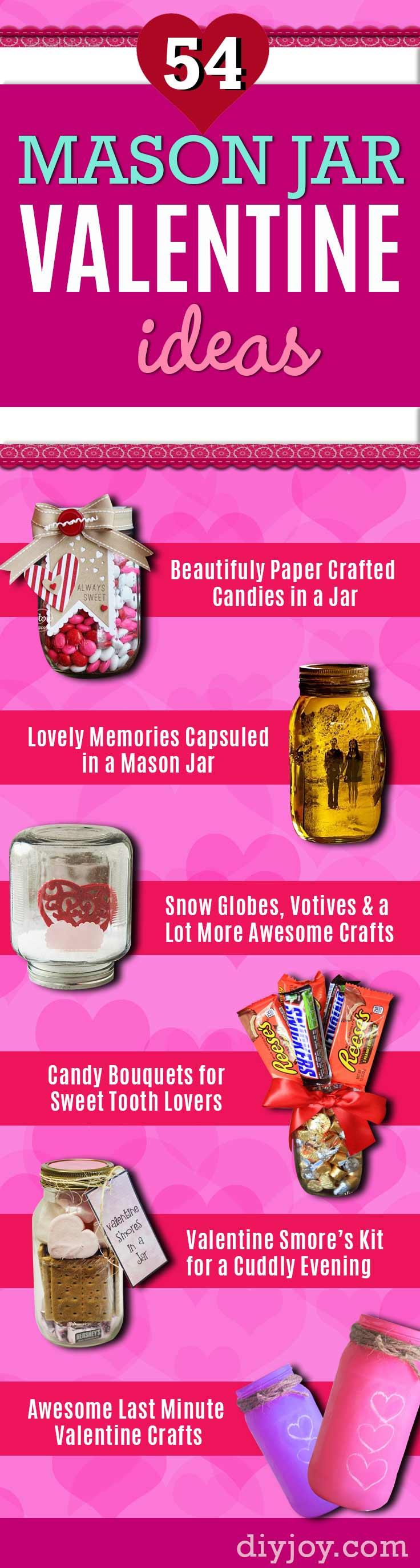 Mason Jar Valentine Gifts - Easy Mason Jar Valentines - Cute Valentines Day Gifts - Easy Mason Jars Crafts for Valentines Day