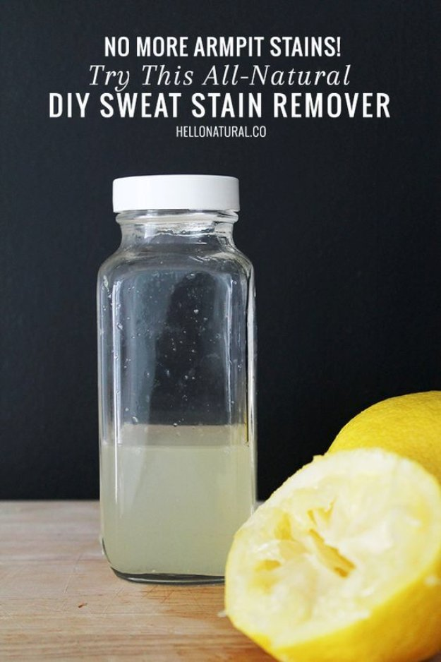 Best Natural Homemade DIY Cleaners and Recipes - All Natural DIY Sweat Stain Remover Solution - All Purposed Home Care and Cleaning with Vinegar, Essential Oils and Other Natural Ingredients For Cleaning Bathroom, Kitchen, Floors, Laundry, Furniture and More