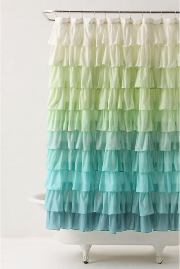 Sewing Projects for The Home - Anthropologie Ruffle Shower Curtain Tutorial - Free DIY Sewing Patterns, Easy Ideas and Tutorials for Curtains, Upholstery, Napkins, Pillows and Decor #homedecor #diy #sewing