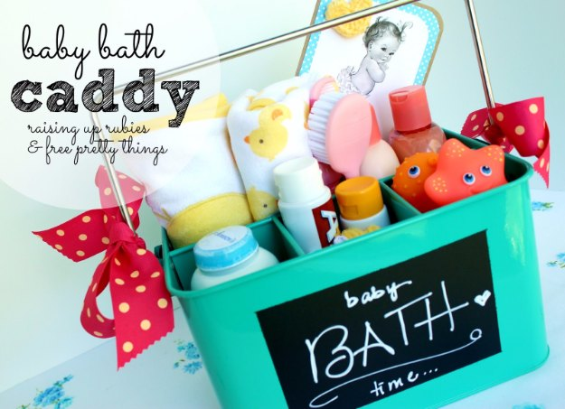 DIY Baby Gifts - Baby Bath Caddy - Homemade Baby Shower Presents and Creative, Cheap Gift Ideas for Boys and Girls - Unique Gifts for the Mom and Dad to Be - Blankets, Baskets, Burp Cloths and Easy No Sew Projects #diybaby #babygifts #babyshower
