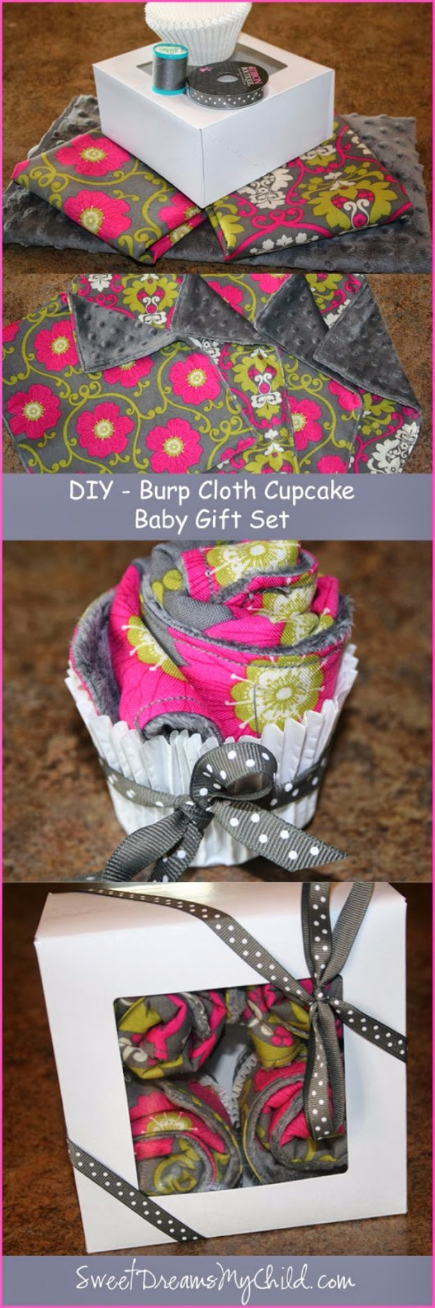 DIY Baby Gifts - Baby Burp Cloth Cupcake Tutorial - Homemade Baby Shower Presents and Creative, Cheap Gift Ideas for Boys and Girls - Unique Gifts for the Mom and Dad to Be - Blankets, Baskets, Burp Cloths and Easy No Sew Projects #diybaby #babygifts #babyshower