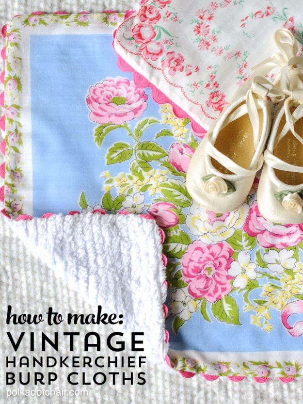 DIY Baby Gifts - Baby Burp Cloths Made from Vintage Handkerchiefs - Homemade Baby Shower Presents and Creative, Cheap Gift Ideas for Boys and Girls - Unique Gifts for the Mom and Dad to Be - Blankets, Baskets, Burp Cloths and Easy No Sew Projects #diybaby #babygifts #babyshower