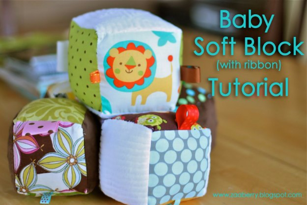 DIY Baby Gifts - Baby Soft Block with Ribbon Tutorial - Homemade Baby Shower Presents and Creative, Cheap Gift Ideas for Boys and Girls - Unique Gifts for the Mom and Dad to Be - Blankets, Baskets, Burp Cloths and Easy No Sew Projects #diybaby #babygifts #babyshower