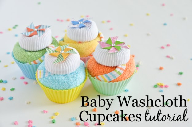 DIY Baby Gifts - Baby Washcloth Cupcakes Tutorial - Homemade Baby Shower Presents and Creative, Cheap Gift Ideas for Boys and Girls - Unique Gifts for the Mom and Dad to Be - Blankets, Baskets, Burp Cloths and Easy No Sew Projects #diybaby #babygifts #babyshower