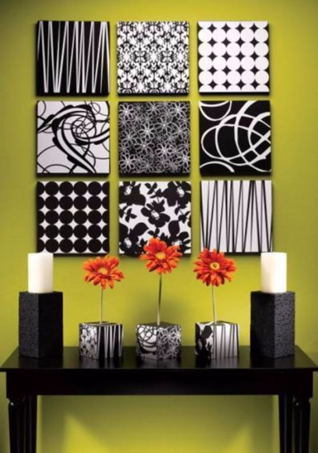 DIY Wall Art Ideas and Do It Yourself Wall Decor for Living Room, Bedroom, Bathroom, Teen Rooms | Black and White Styrofoam Wall Art | Cheap Ideas for Those On A Budget. Paint Awesome Hanging Pictures With These Easy Step By Step Tutorial