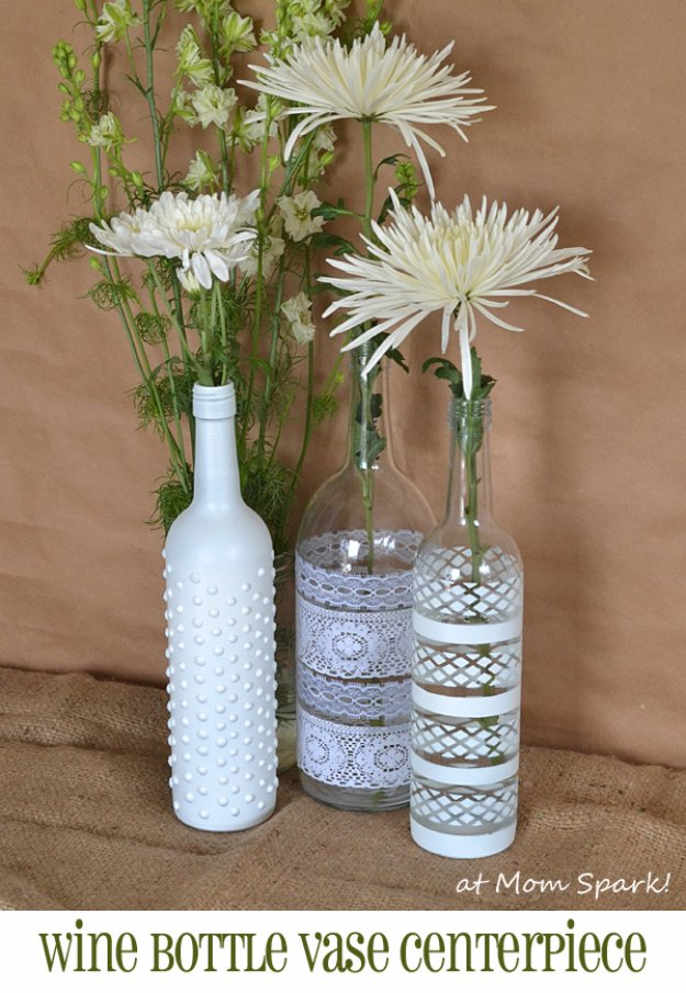 Wine Bottle DIY Crafts - Boho Wine Bottle Vases - Projects for Lights, Decoration, Gift Ideas, Wedding, Christmas. Easy Cut Glass Ideas for Home Decor on Pinterest