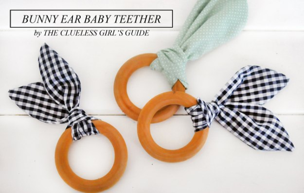 DIY Baby Gifts - Bunny Ear Baby Teether - Homemade Baby Shower Presents and Creative, Cheap Gift Ideas for Boys and Girls - Unique Gifts for the Mom and Dad to Be - Blankets, Baskets, Burp Cloths and Easy No Sew Projects #diybaby #babygifts #babyshower